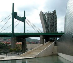 The bridge in Bilbao next to Guggenheim Museum